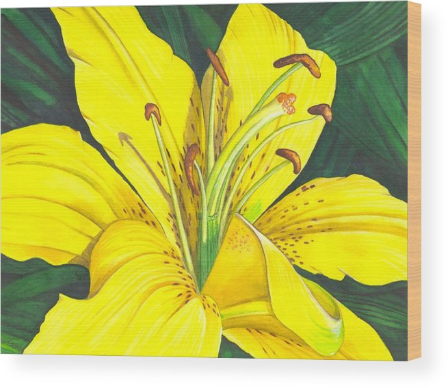 Lily Wood Print featuring the painting Lemon Lily by Catherine G McElroy