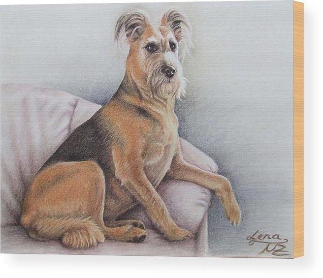 Dog Wood Print featuring the pastel Lena by Nicole Zeug