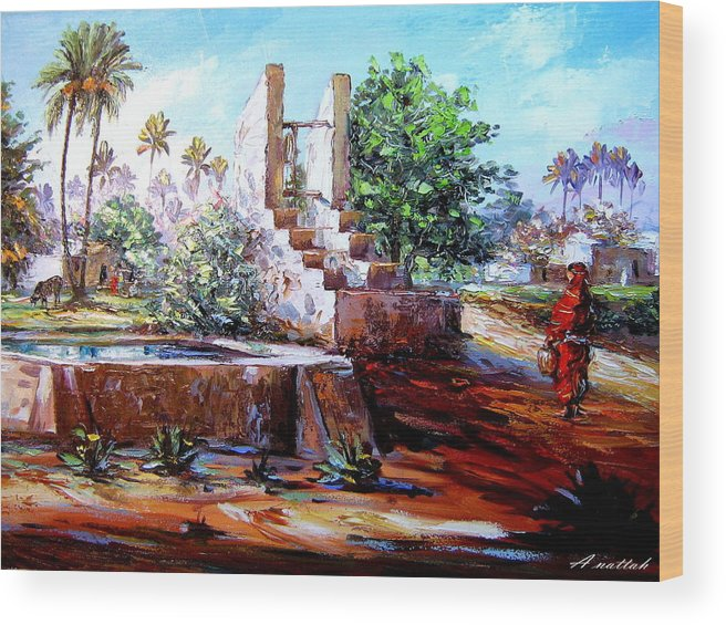 Nutre Wood Print featuring the painting Libyan Farm by Abdussalam Nattah