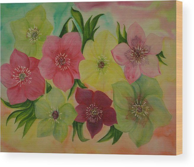 Flowers Wood Print featuring the painting Life In Color by Murielle Hebert