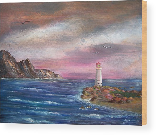 Seascape Wood Print featuring the painting Lighthouse At Sunset by Tony Rodriguez