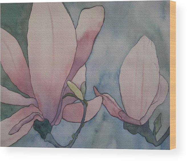 Lilies Wood Print featuring the painting Lilies by Theodora Dimitrijevic