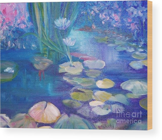 Water Wood Print featuring the painting Lillypads by Judy Groves