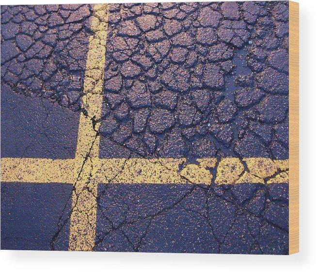 Asphalt Wood Print featuring the photograph Lines On Asphalt I by Anna Villarreal Garbis