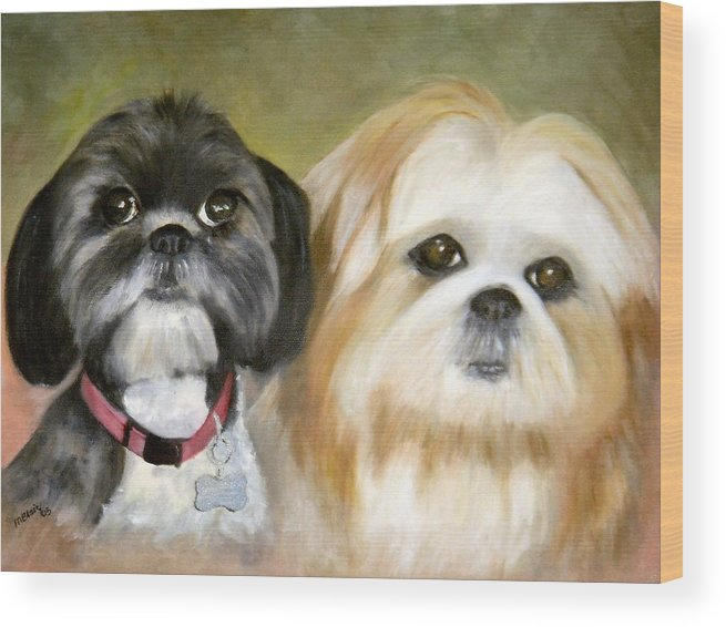 Pets Wood Print featuring the painting Little Angels by Merle Blair