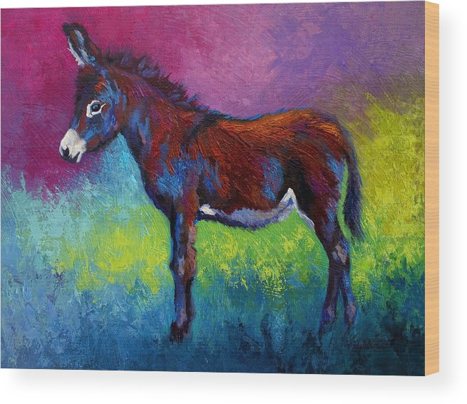 Burro Wood Print featuring the painting Little Jenny by Marion Rose