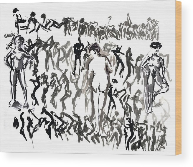 Movement Wood Print featuring the drawing Living Model 1 by Dany Albiach
