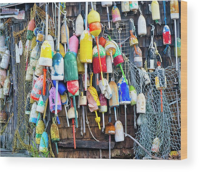 Cape Neddick Wood Print featuring the photograph Lobster Buoys And Nets - Maine by Steven Ralser