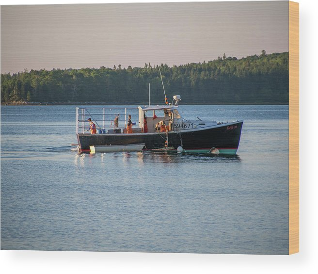 Maine Wood Print featuring the photograph Lobstermen At Work by Trace Kittrell