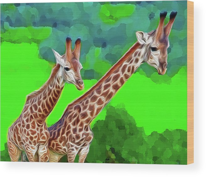 Animals Wood Print featuring the digital art Long Necked Giraffes 3 by Bruce Iorio