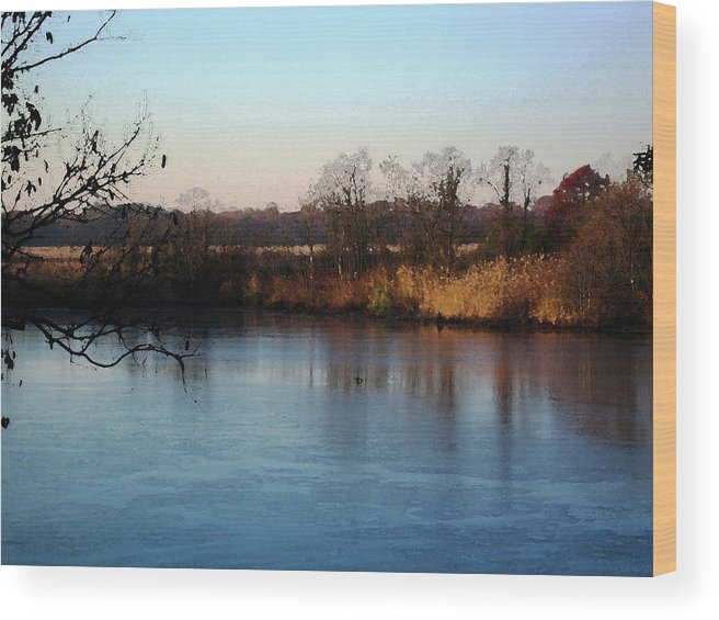 Pond Wood Print featuring the mixed media Long Pond by Paul Barlo