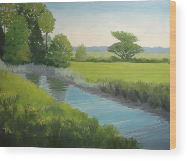 Landscape Wood Print featuring the painting Longs Creek by Robert Rohrich