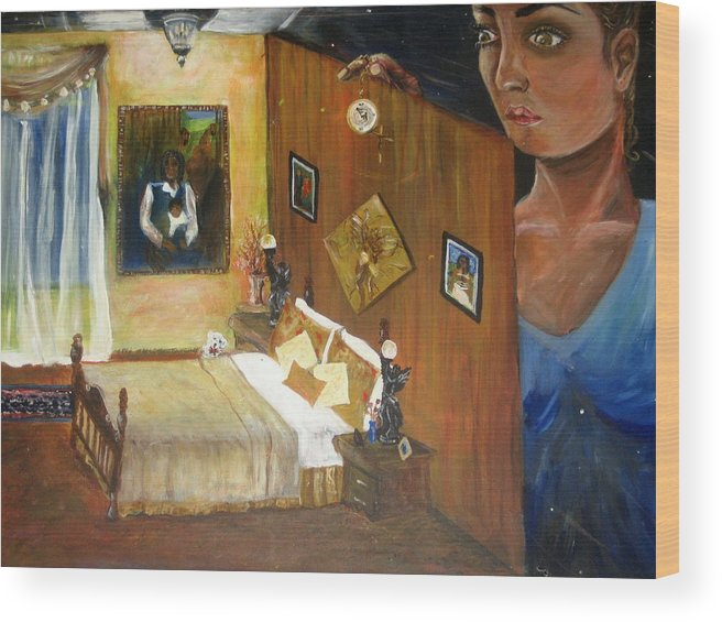 Oil Wood Print featuring the painting Looking Back by Jessica De la Torre