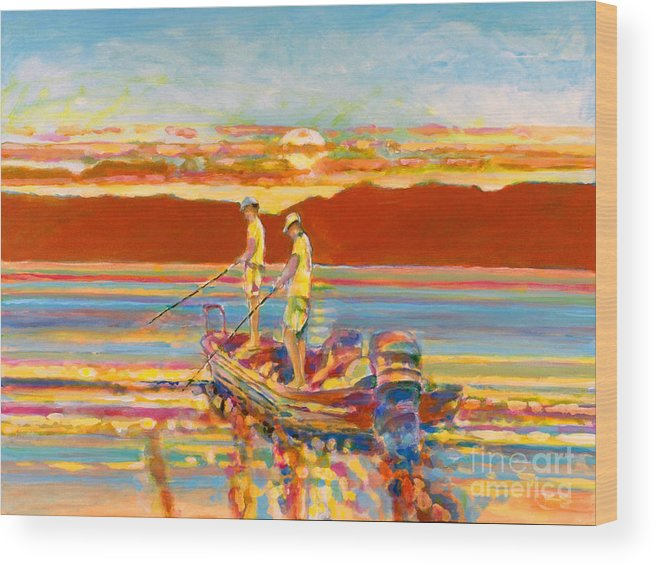 Fishing Wood Print featuring the painting Looking For The Big One by Kip Decker