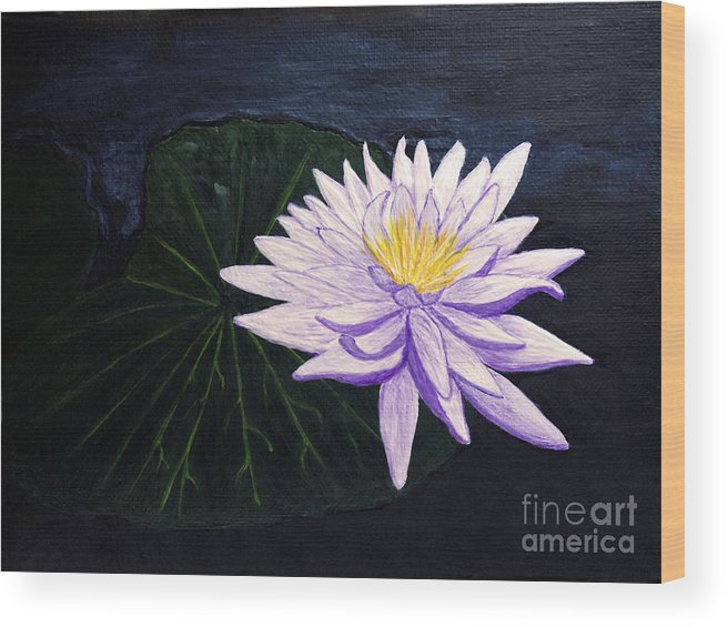 Original Painting Wood Print featuring the painting Lotus Blossom At Night by Patricia Griffin Brett