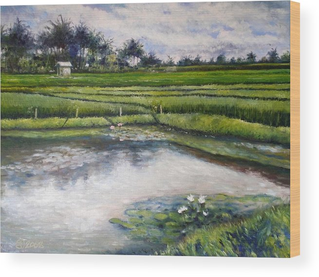Bali Wood Print featuring the painting Lotus Flowers And Rice Field Ubud Bali Indonesia 2008 by Enver Larney