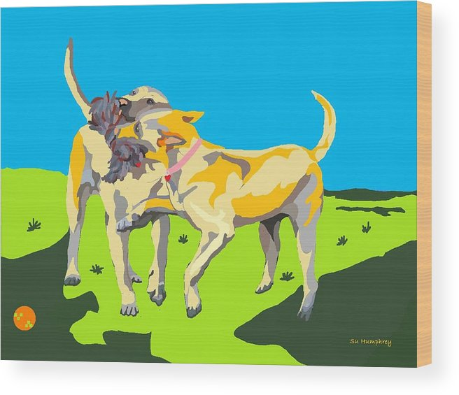 Yellow Labs Wood Print featuring the digital art Love Tugs....the Rope Pull by Su Humphrey