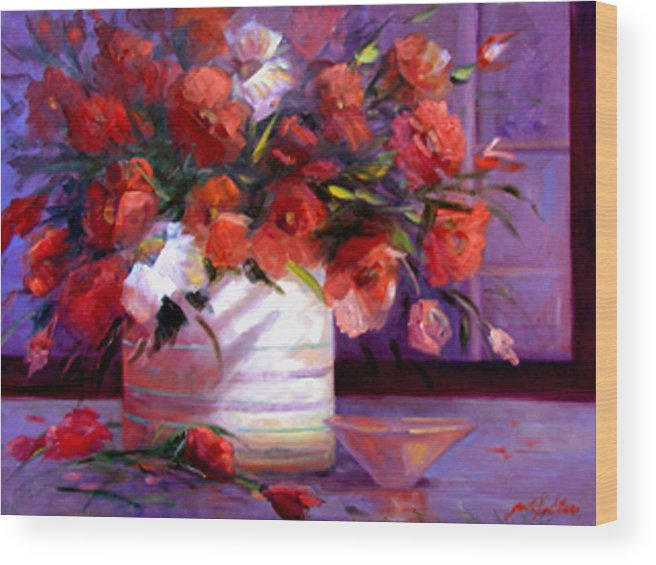 Floral Wood Print featuring the painting Love You Susi  by Gail Salitui