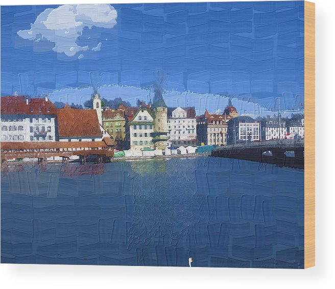 Landscape Wood Print featuring the photograph Luzern Lake Front by Chuck Shafer