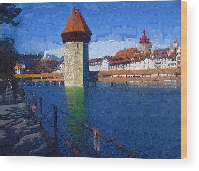 Landscape Wood Print featuring the photograph Luzern Tower by Chuck Shafer