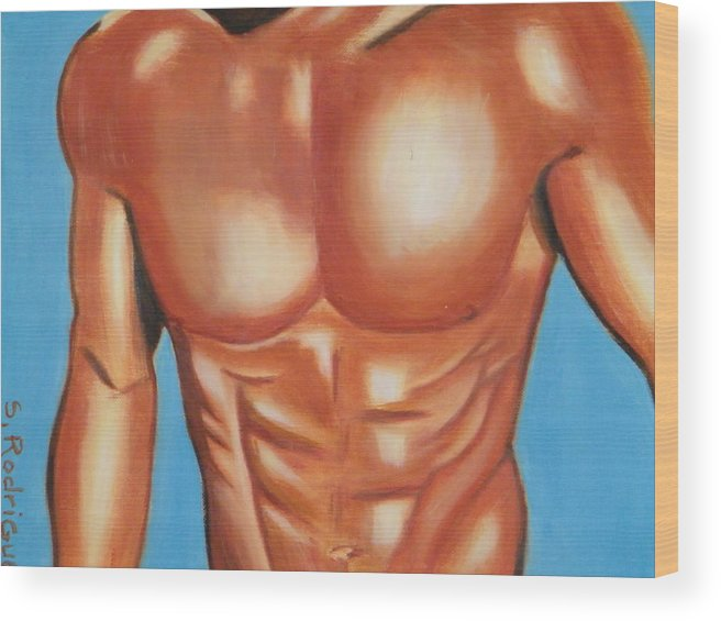 Nude Wood Print featuring the painting Male Nude by Santiago Rodriguez