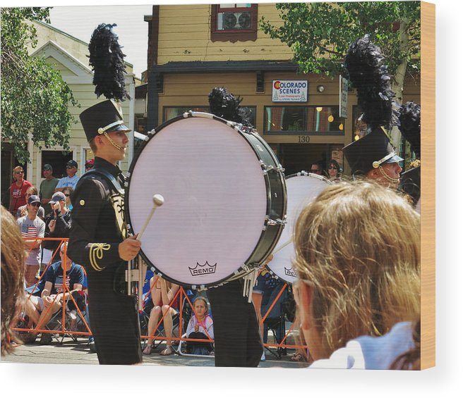 Marching Bands Wood Print featuring the photograph Marching Band Percussion by Sarah Maple