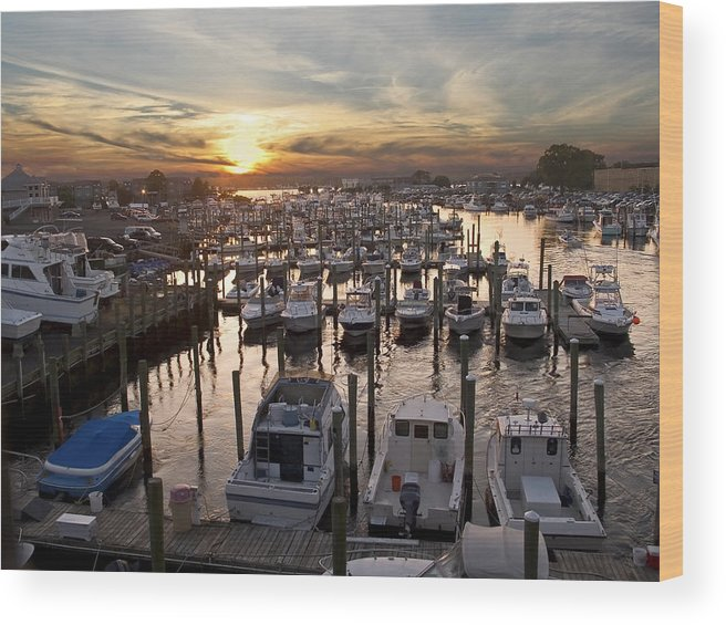 Boats Wood Print featuring the photograph Marina Sunset by Andrew Kazmierski