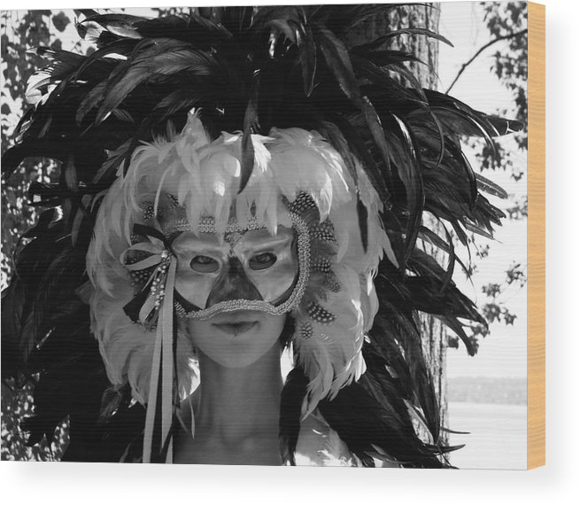 Venetian Mask Wood Print featuring the photograph Masked Woman by Sonja Anderson