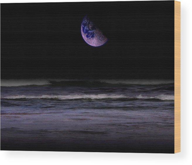 Surreal Wood Print featuring the digital art Mauve Ocean by Juana Maria Garcia-Domenech