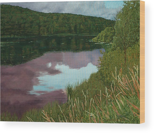 Lake Wood Print featuring the painting Maxwell Settlement Evening Reflections by Allan OMarra