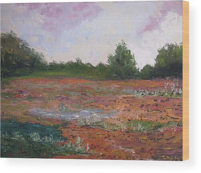 Landscape Wood Print featuring the painting Meadow Creek - Late Summer by Belinda Consten