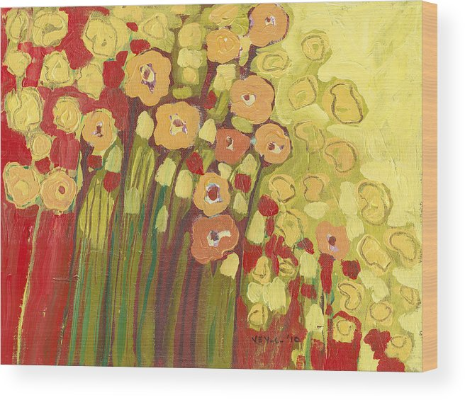 Floral Wood Print featuring the painting Meadow In Bloom by Jennifer Lommers