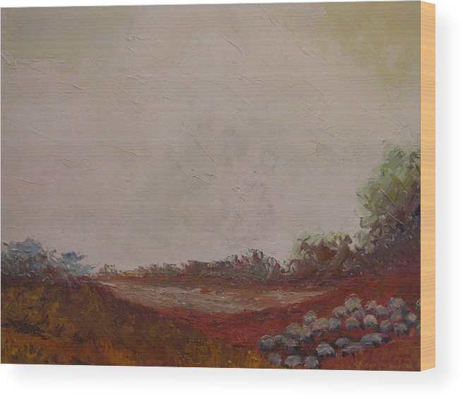 Landscape Wood Print featuring the painting Meadow With Grazing Sheep by Belinda Consten