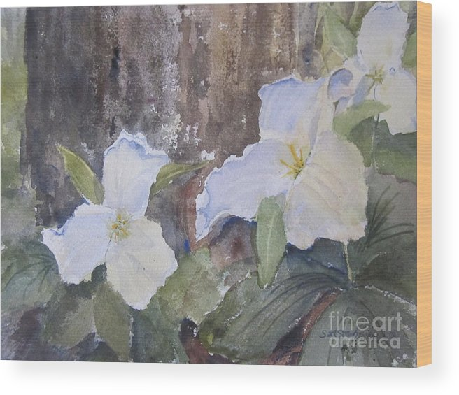 Trillium Wood Print featuring the painting Meaghan's Trillium by Sandra Strohschein