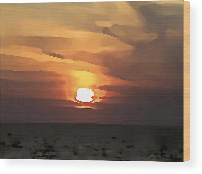 Digital Art Wood Print featuring the photograph Mediterranean Sunset by Gareth Davies