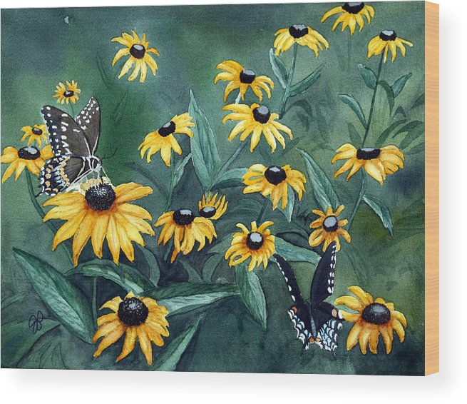 Butterflies Wood Print featuring the painting Meeting Place by Julie Pflanzer