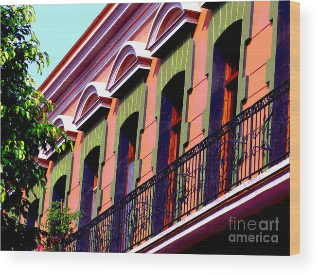 Darian Day Wood Print featuring the photograph Melville Balcony By Darian Day by Mexicolors Art Photography