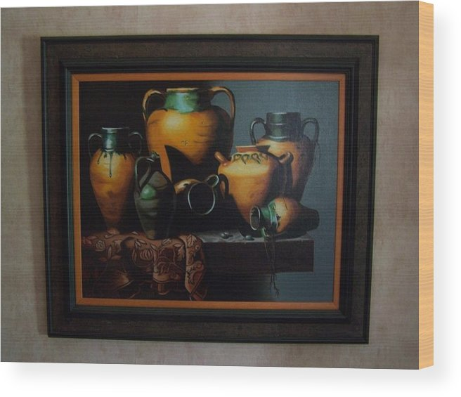 Stilllife Painting Wood Print featuring the painting Mexican Pottery by Robert E Gebler
