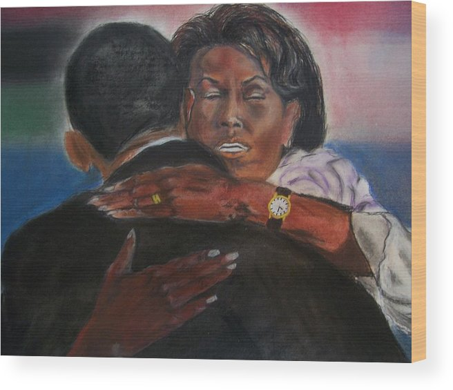 Barack Obama Wood Print featuring the painting Michele by Darryl Hines