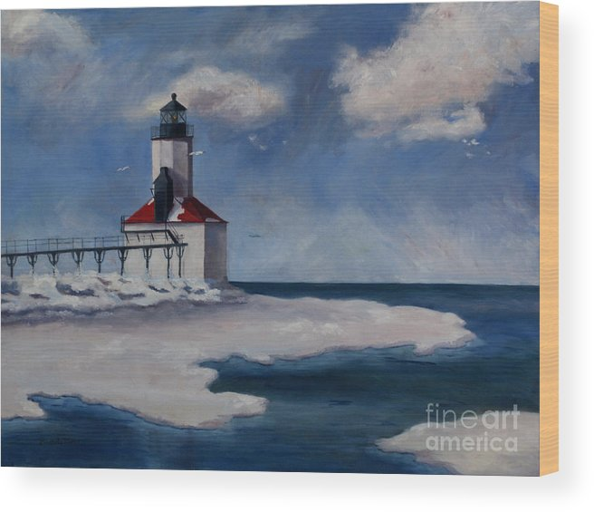 Lighthouse Wood Print featuring the painting Michigan City Light by Brenda Thour