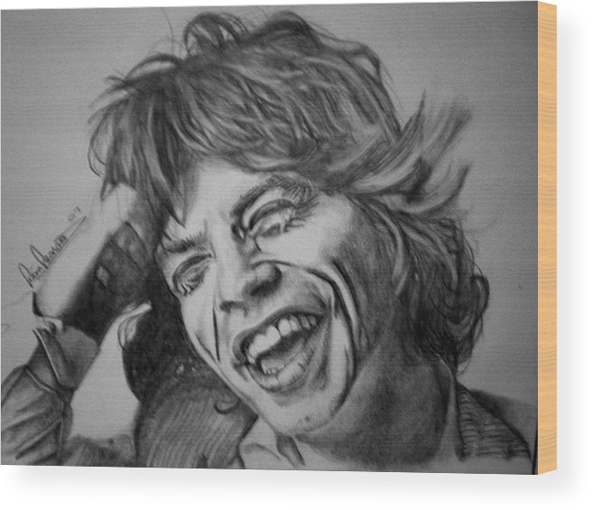 Celeb Portraits Wood Print featuring the drawing Mick Jagger Portrait by Sean Leonard