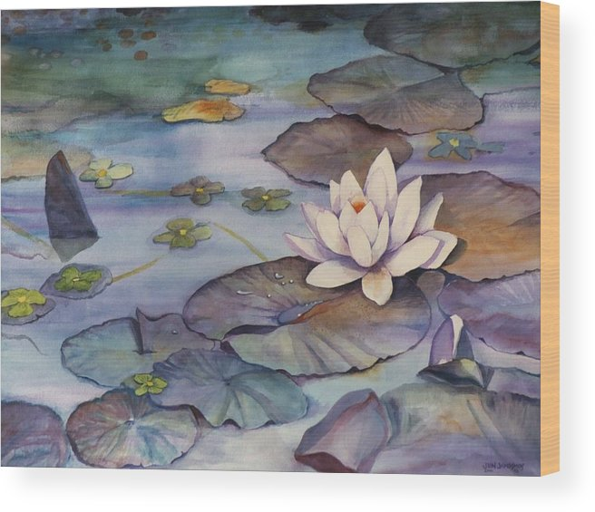 Lily Wood Print featuring the painting Midnight Lily by Jun Jamosmos