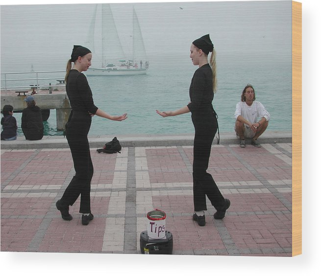 Women In Black Fog Mist Sailboat Ship Mimes Florida Wood Print featuring the photograph Mirror Mimes In Key West by Carl Purcell