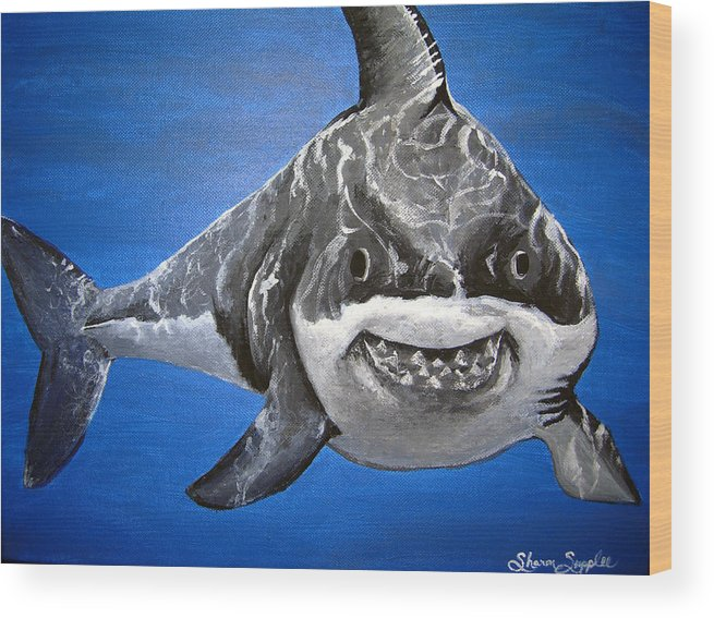 Shark Wood Print featuring the painting Mischief by Sharon Supplee