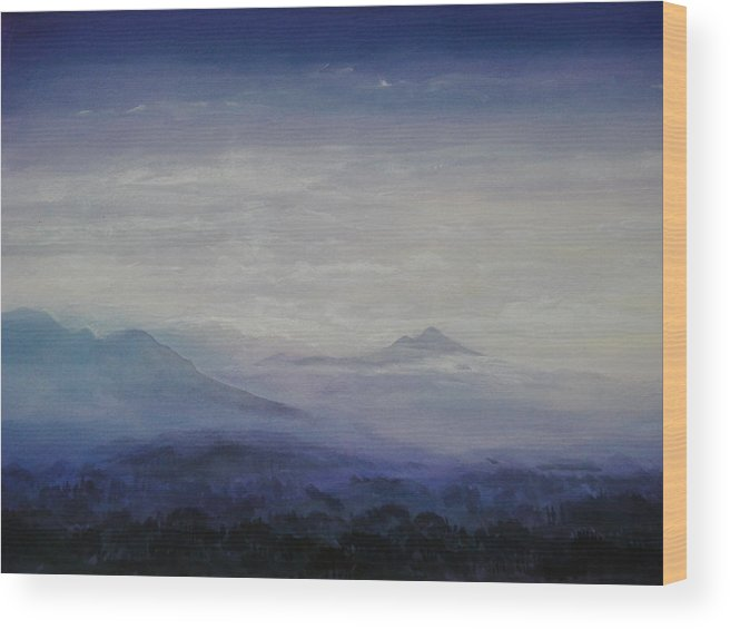 Landscape Wood Print featuring the painting Mist Over The Mountains by Jeff Knott