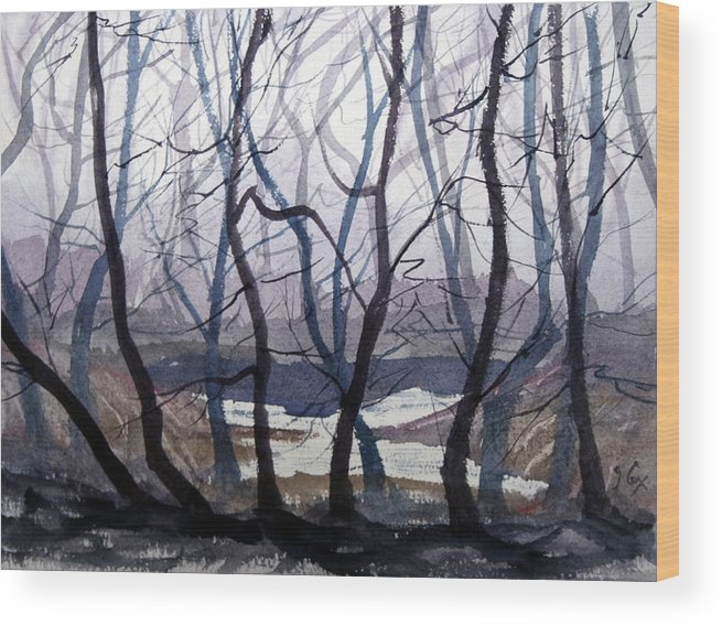Landscape. Mist. Trees. Atmosphere. Wood Print featuring the painting Misty Morning by John Cox