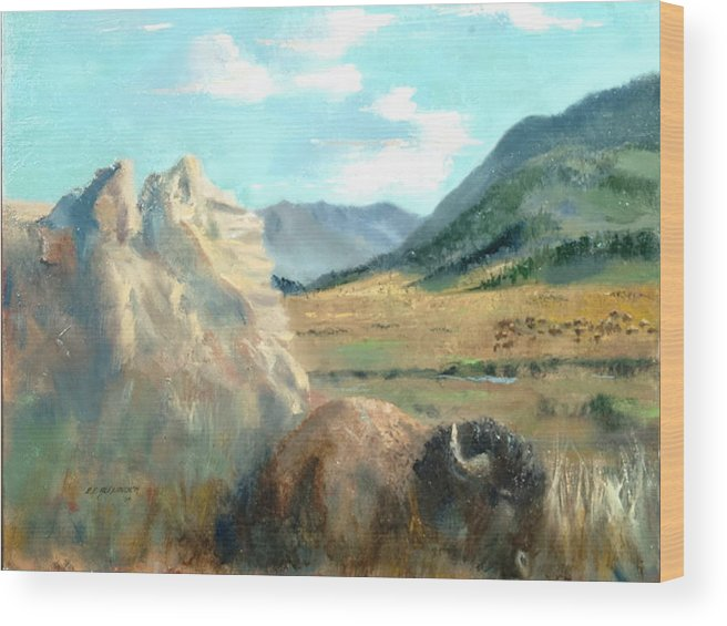 Bison Wood Print featuring the painting Monarch Of Yellowstone by Bryan Alexander