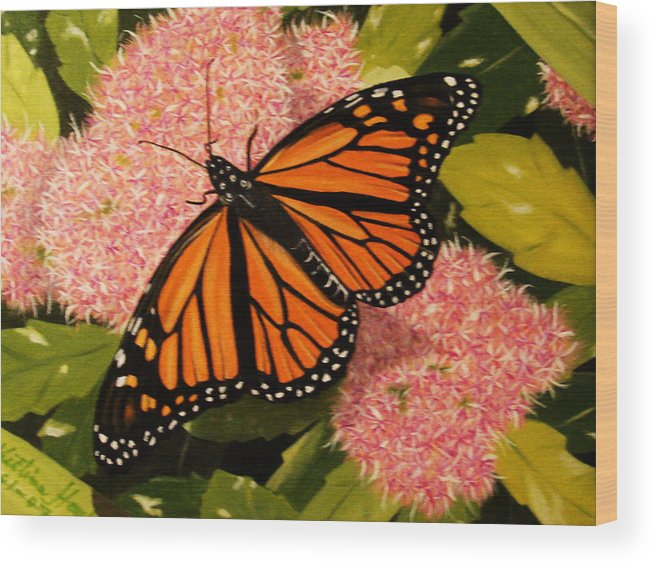Butterfly Wood Print featuring the painting Monark by Kristina Hauk