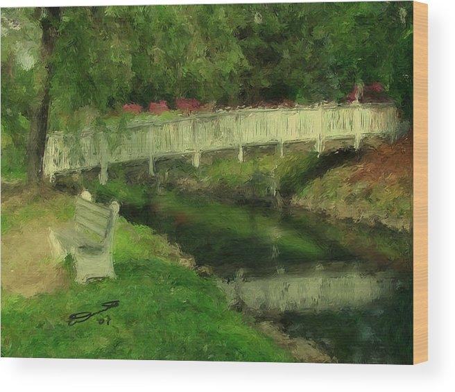 Red Water White Park Green Painting Bridge Pond Oil Bench Impressionism Monet Wood Print featuring the painting Monet's Bridge by Eddie Durrett
