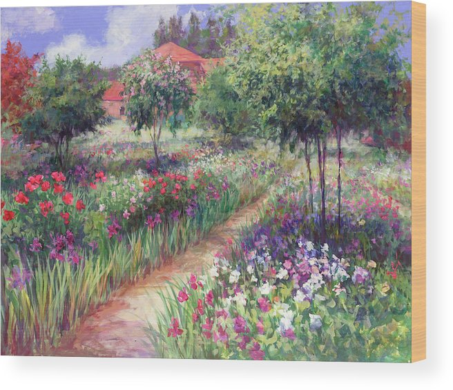 Landscape Wood Print featuring the painting Monet's Garden by Laurie Hein